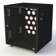 Рэковый шкаф, закрытый SDC-18U645 2.0 мм, RAL9005, дверь стеклянная