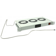 Модуль вентиляторный 19 с терморегулятором, серый 1U, 3 вентилятора