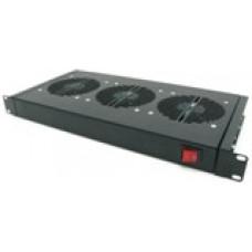 Модуль вентиляторный 19, чёрный 1U, 3 вентилятора